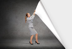 Smiling businesswoman changing sceneries Stock Image