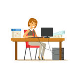 Smiling businesswoman character in a suit working on a laptop computer at his office desk vector Illustration. On a white background Stock Photos