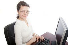 Smiling businesswoman with computer Royalty Free Stock Image
