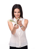 Smiling businesswoman counting money Stock Photo
