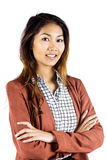 Smiling businesswoman with crossed arms. On white background Royalty Free Stock Photos