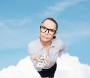 Smiling businesswoman with dollar cash money Royalty Free Stock Photo