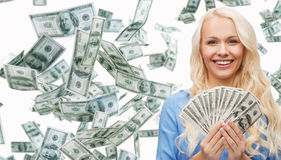 Smiling businesswoman with dollar cash money. Business, money, finance, people and banking concept - smiling businesswoman with dollar cash money Stock Photo
