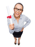Smiling businesswoman in eyeglasses with diploma Stock Photos