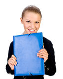 Smiling businesswoman with folder. isolated Stock Image