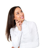 Smiling businesswoman in formalwear sitting Stock Image