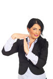 Smiling businesswoman gesture time out Stock Image