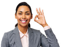 Smiling Businesswoman Gesturing Okay Royalty Free Stock Photos