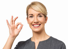 Smiling Businesswoman Gesturing Okay Stock Photos