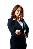 Smiling businesswoman giving business card at you Stock Image