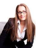 Smiling businesswoman in glasses. Smiling businesswoman with glasses, isolated on white Royalty Free Stock Images