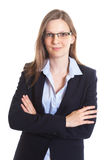 Smiling businesswoman with glasses crossed arms Royalty Free Stock Photography