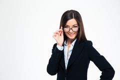 Smiling businesswoman in glasses Stock Images