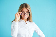 Smiling businesswoman in glasses Stock Photo