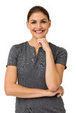 Smiling Businesswoman With Hand On Chin Stock Images