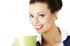 Smiling businesswoman having coffee break Royalty Free Stock Photography
