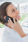 Smiling businesswoman having a phone conversation Royalty Free Stock Photos