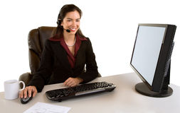 Smiling Businesswoman With Headset Royalty Free Stock Photography