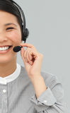 Smiling businesswoman with headset on Stock Photos