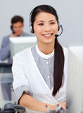 Smiling businesswoman with headset on Royalty Free Stock Photo