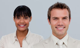 Smiling businesswoman with her colleague Royalty Free Stock Image