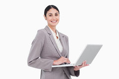 Smiling businesswoman with her laptop Royalty Free Stock Photo