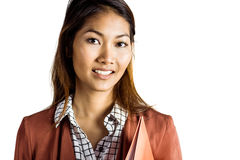 Smiling businesswoman holding a binder Stock Photo