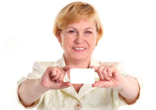 Smiling businesswoman holding blank empty card Stock Photos