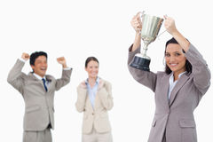 Smiling businesswoman holding cup royalty free stock photo