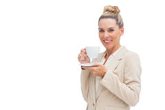 Smiling businesswoman holding a cup Stock Images