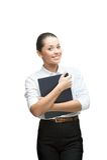 Smiling businesswoman holding diary Stock Photos
