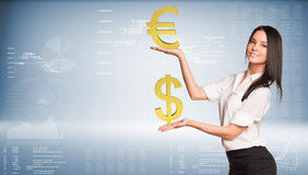 Smiling businesswoman holding dollar and euro Stock Image