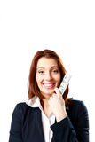 Smiling businesswoman holding US dollars Royalty Free Stock Images