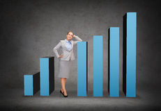 Smiling businesswoman with increasing graph. Business, post and transportation concept - smiling businesswoman with increasing graph Stock Photo