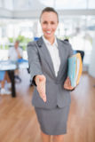 Smiling businesswoman introducing herself Royalty Free Stock Photo