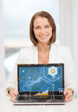 Smiling businesswoman with laptop computer Stock Photos