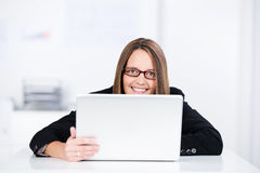 Smiling Businesswoman With Laptop Stock Photography