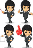 Smiling Businesswoman Mascot in Many Poses Stock Photography