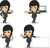 Smiling Businesswoman Mascot in Various Poses Stock Photos