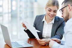 Smiling Businesswoman Meeting with Client Royalty Free Stock Photo