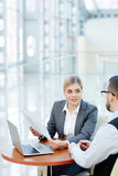 Smiling Businesswoman  Meeting with Partner Stock Images