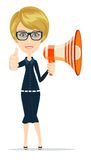 Smiling businesswoman with megaphone Royalty Free Stock Photography
