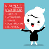 Smiling businesswoman with new year resolutions list. Smiling cartoon businesswoman with new year resolutions list stock illustration