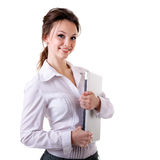 Smiling businesswoman with a notebook in her hands isolated on w Stock Image