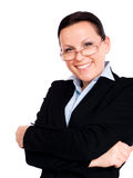 Smiling businesswoman over white Stock Image