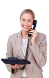 Smiling businesswoman on phone Royalty Free Stock Images