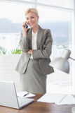Smiling businesswoman on the phone Stock Images