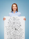 Smiling businesswoman with plan in white board Royalty Free Stock Images