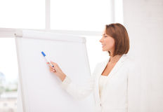 Smiling businesswoman pointing to flipchart Stock Image