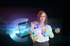 Smiling businesswoman pointing to smartphone and app icons Royalty Free Stock Photo